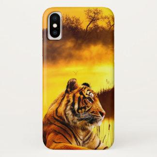 Funda Para iPhone X Tigre y puesta del sol