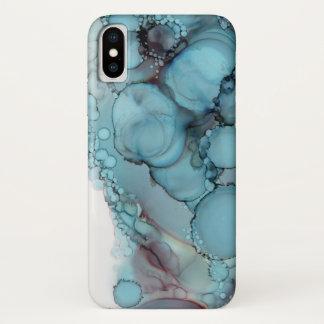 Funda Para iPhone X Tinta azul del alcohol de la burbuja