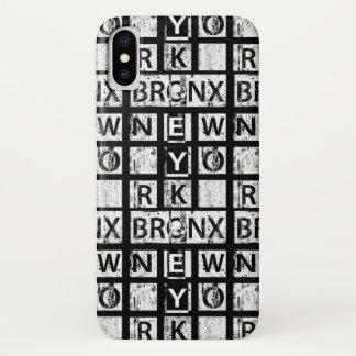 Funda Para iPhone X Tipografía del Grunge de Bronx Nueva York el  