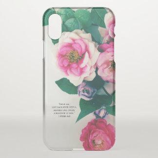 Funda Para iPhone X Verso color de rosa salvaje rosado de la biblia