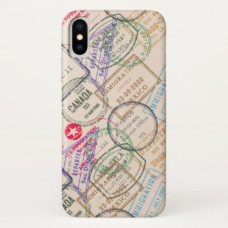 Funda Para iPhone X Viaje de los sellos del pasaporte
