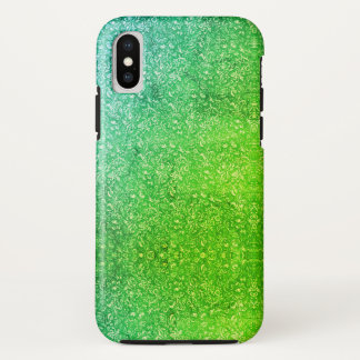 Funda Para iPhone X Vitalidad colorida brillante floral verde de neón
