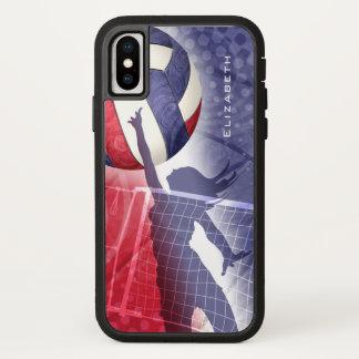 Funda Para iPhone X voleibol para mujer blanco y azul rojo