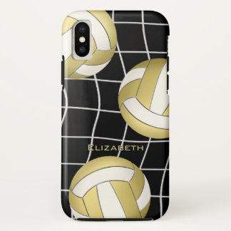 Funda Para iPhone X voleiboles blancos del oro y voleibol para mujer