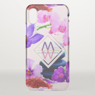 Funda Para iPhone X Zen de las flores del azafrán y de la orquídea del