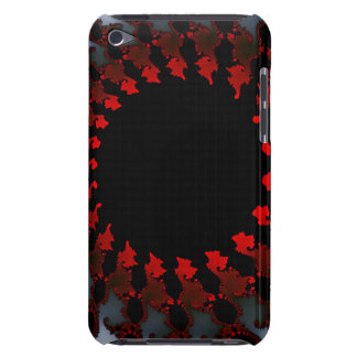 Funda Para iPod De Barely There Blanco negro rojo del fractal