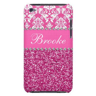 Funda Para iPod De Barely There Damasco y caja rosados y blancos del diamante