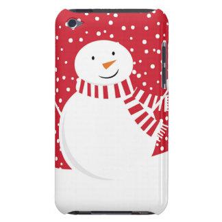 Funda Para iPod De Barely There muñeco de nieve rojo y blanco contemporáneo