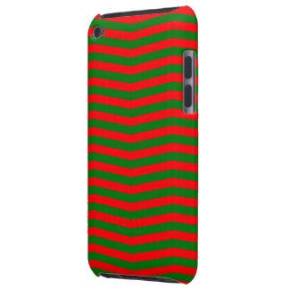 Funda Para iPod De Barely There Navidad rojo y rayas verdes del zigzag de Chevron