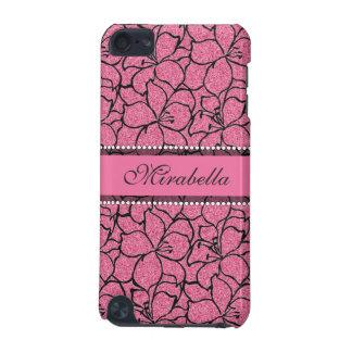 Funda Para iPod Touch 5 Lirios rosados enormes con el esquema negro,