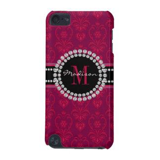 Funda Para iPod Touch 5 Rojo carmesí, damasco magenta, nombre y monograma