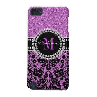 Funda Para iPod Touch 5G Damasco púrpura, nombre y monograma del purpurina