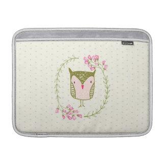 Funda Para MacBook Air Guirnalda floral y corazones del búho lindo