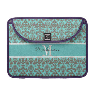 Funda Para MacBook Azules turquesas verde azuladas y damasco de