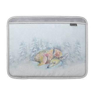 Funda Para MacBook Ciervos del invierno de la acuarela en nieve