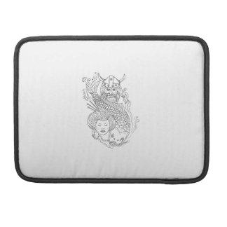 Funda Para MacBook Dibujo blanco y negro de la cabeza del geisha de