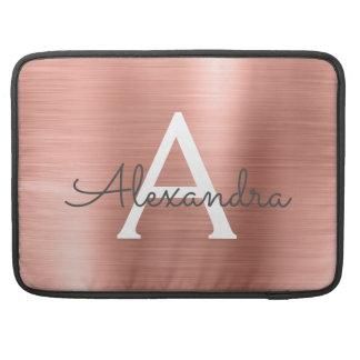 Funda Para MacBook Monograma color de rosa rosado del acero