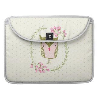 Funda Para MacBook Pro Guirnalda floral y corazones del búho lindo