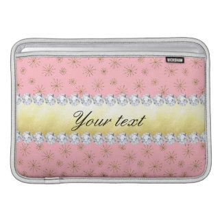 Funda Para MacBook Rosa elegante de los copos de nieve del brillo del