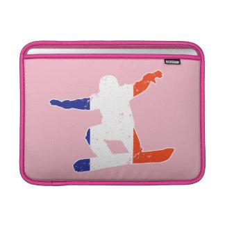 Funda Para MacBook SNOWBOARDER tricolor francés (blanco)