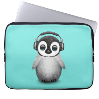 Funda Para Ordenador Auriculares que llevan de DJ del pingüino lindo