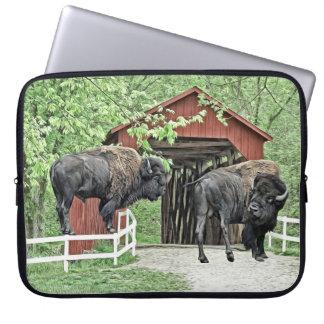 Funda Para Ordenador Bisonte americano divertido en el puente cubierto