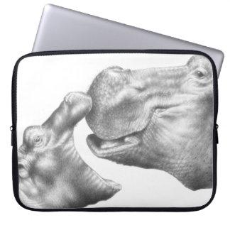 Funda Para Ordenador Bolso de la electrónica del hipopótamo y del bebé