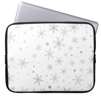 Funda Para Ordenador Copo de nieve del centelleo - gris y Blanco de