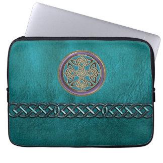 Funda Para Ordenador Falso cuero verde azulado con la manga céltica del