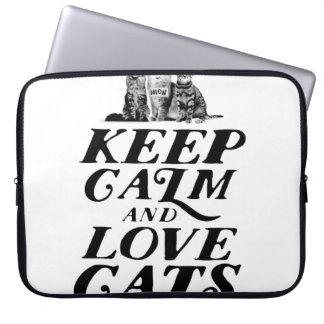 Funda Para Ordenador Guarde la calma y ame los gatos