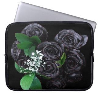 Funda Para Ordenador Manga negra del ordenador portátil de los rosas