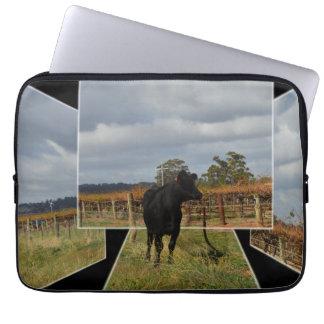 Funda Para Ordenador Marcos dimensionales del arte de la vaca negra del