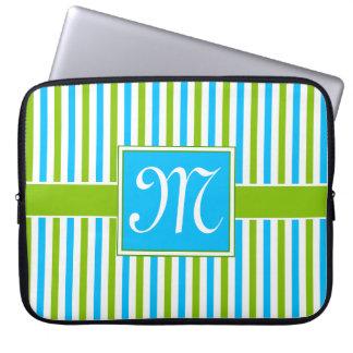 Funda Para Ordenador Monograma azul y verde colorido del modelo de la