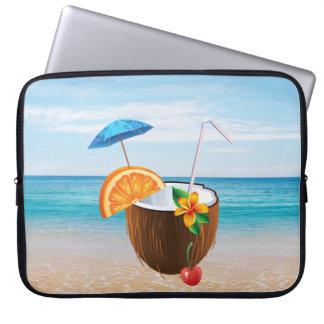 Funda Para Ordenador Playa tropical, cielo azul, arena del océano, coco