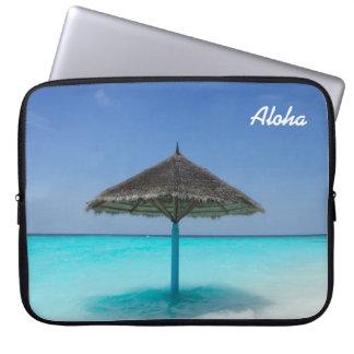 Funda Para Ordenador Playa tropical escénica con el paraguas cubierto