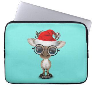 Funda Para Ordenador Reno Nerdy del bebé que lleva un gorra de Santa