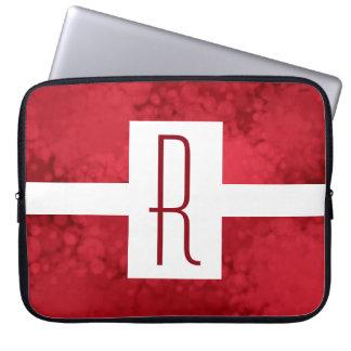 Funda Para Ordenador Rojo del monograma moteado