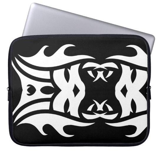 Funda Para Ordenador Tribal laptop sleeve 2 white over black