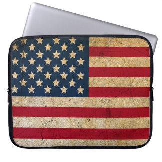 Funda Para Portátil Bandera americana los E.E.U.U. del vintage del