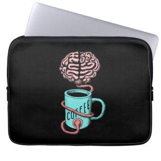 Funda Para Portátil Café para el cerebro. Ejemplo divertido del café