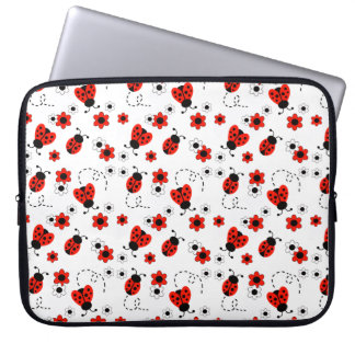 Funda Para Portátil Chica rojo de señora Bug White Floral Teen de la