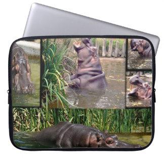 Funda Para Portátil Collage de la foto del hipopótamo,
