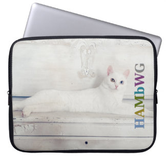 Funda Para Portátil Gato blanco de HAMbWG - mangas del ordenador