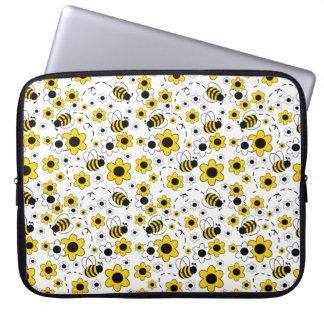 Funda Para Portátil La miel manosea floral amarillo blanco del