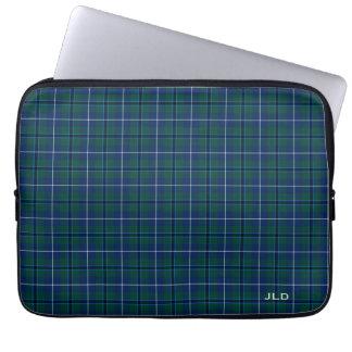 Funda Para Portátil Monograma azul y verde del tartán de Douglas del