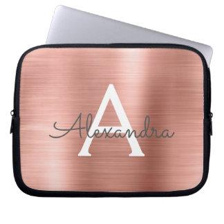 Funda Para Portátil Monograma color de rosa rosado del acero