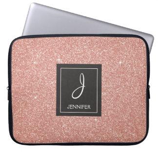 Funda Para Portátil Monograma color de rosa rosado del purpurina y de