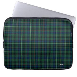 Funda Para Portátil Monograma de la tela escocesa del verde del tartán