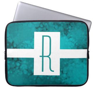 Funda Para Portátil Monograma manchado verde azulado
