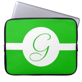 Funda Para Portátil Monograma verde claro del círculo